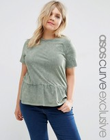 Asos T-Shirt with Ruffle Hem in Washed Khaki