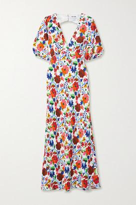 Rixo Steph Floral-print Crepe De Chine Midi Dress - Multi