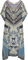 Camilla Chinese Whispers Crystal-embellished Printed Silk Crepe De Chine Kaftan - Storm blue