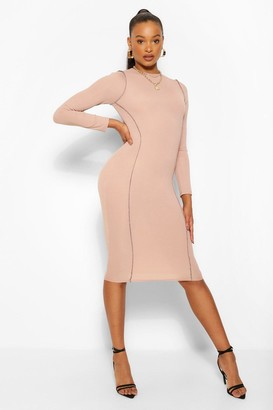 boohoo Contrast Stitch Rib Long Sleeve Midi Dress