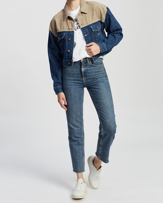 Tommy Jeans Women's Blue Denim jacket - Cropped Trucker Jacket - Size XS at The Iconic