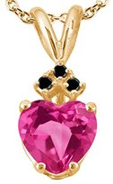 Gem Stone King 1.11 Ct Heart Shape Pink Created Sapphire Black Diamond 18K Yellow Gold Pendant