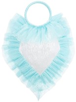 The Vampire's Wife Ruffle-trimmed Woven Clutch - Womens - Blue Silver