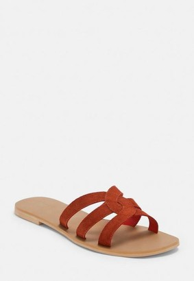 Missguided Red Cross Front Leather Sandals