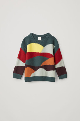 Cos Color-Block Cotton-Wool Sweater
