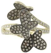LeVian Le Vian 14K Yellow Gold 1.00ct. Diamond Vanilla & Chocolate Butterfly Ring Size 8.25