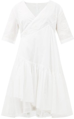 Merlette New York Aronia Floral-applique Cotton-blend Wrap Dress - White