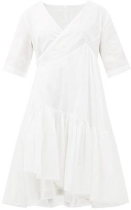 Merlette New York Aronia Floral-applique Cotton-blend Wrap Dress - Womens - White