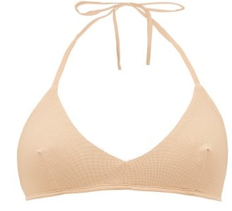 ALBUS LUMEN V-neck Pique Halterneck Bikini Top - Nude