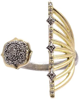 Armenta Old World Blackened Sterling Silver & 18K Gold Diamond Open Ended Ring - Size 6.5 - 0.15 ctw