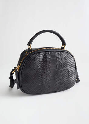 And other stories Croc Panel Leather Crossbody Bag