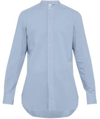 Finamore 1925 - Lorenzo Band Collar Brushed Cotton-chambray Shirt - Mens - Blue