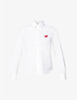 Comme des Garcons Heart-embroidered cotton shirt