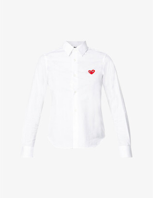 Comme des Garcons Heart-embroidered cotton shirt