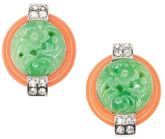 Kenneth Jay Lane Coral And Jade Art Deco Clip Earrings