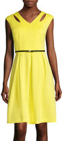 Studio 1 Sleeveless Solid Belted Fit-and-Flare Dress