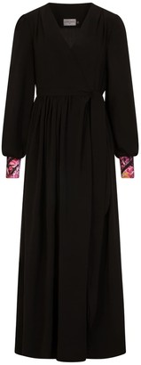 New Look Lilody Maxi Wrap In Black With Geranium Print Cuff