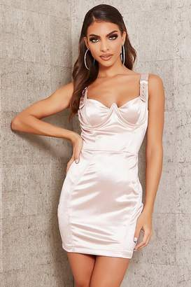 I SAW IT FIRST Nude Underwired Buckle Strap Satin Bodycon Dress