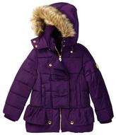 Catherine Malandrino Faux Fur Trimmed Hooded Peplum Bubble Jacket (Little Girls)