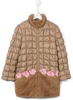 Miss Blumarine faux fur panel padded coat