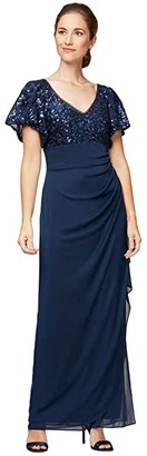 Alex Evenings Petite Long Empire Waist Dress with Embroidered Sequin Bodice (Navy) Women's Dress