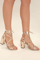 Qupid Oni Rose Gold Lace-Up Heels