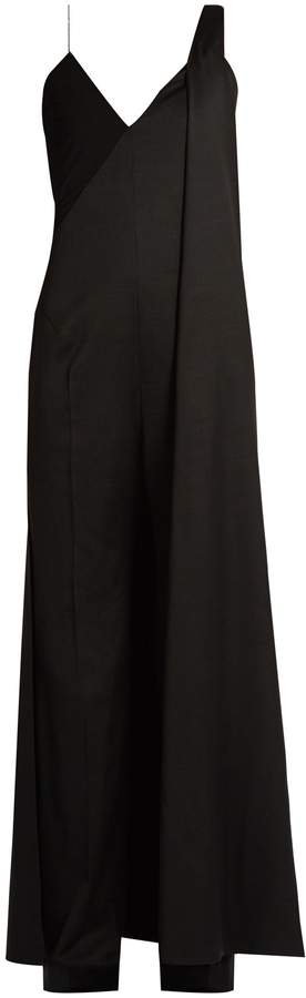 Esteban Cortazar Cape-back wide-leg wool jumpsuit