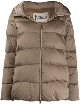 Herno Logo Print Zipped Puffer Jacket