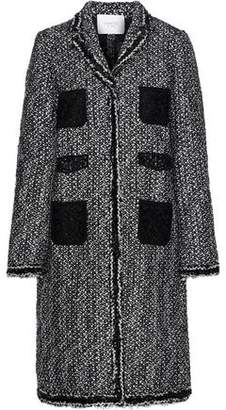 Giambattista Valli Guipure Lace-paneled Sequin-trimmed Boucle Coat