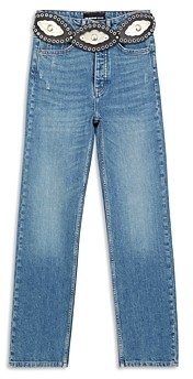 The Kooples Belted Straight Leg Jeans in Blue