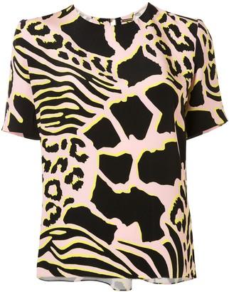 Adam Lippes Animal Print Short-Sleeve Blouse
