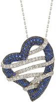 LeVian Suzy Diamonds Suzy 18K & Silver 1.02 Ct. Tw. Sapphire Heart Necklace