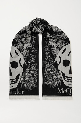 Alexander McQueen Fringed Wool-jacquard Scarf - Black