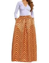 Kalin L Women Deluxe African Print Color Block Contrast High Waist Maxi Flared Circle Skirt