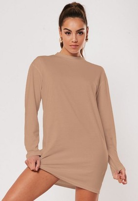 Missguided Tan Basic Long Sleeve T Shirt Dress