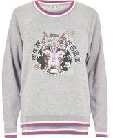 River Island Womens Grey embellished print sweatshirt