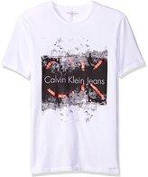 Calvin Klein Jeans Men's Short Sleeve Distress Molten Ck Logo Crew Neck T-Shirt