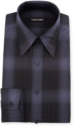 Tom Ford Men's Optical Check Pointed-Collar Dress Shirt