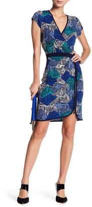 Laundry by Shelli Segal Printed Surplice Zip Detail Dress