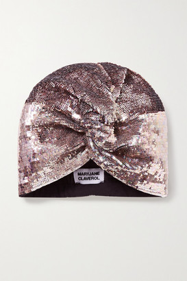 MaryJane Claverol Adele Sequined Stretch-cotton Turban - Rose gold