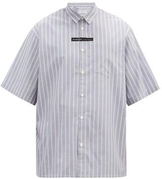 Givenchy Logo-tape Striped Cotton Short-sleeve Shirt - Blue