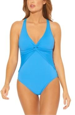 Bleu by Rod Beattie Solid Twisted Cross-Back One-Piece Swimsuit Women's Swimsuit