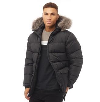 Fluid Mens Fur Hood Puffer Jacket Black