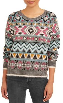 No Boundaries Juniors' Printed Jacquard Sweater