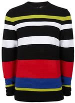 Topman Colour Block Ripple Textured Sweater