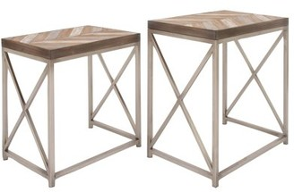 Decmode Set of 2 Contemporary 23 and 26 Inch Rectangular Iron and Wood Nesting Tables, Silver