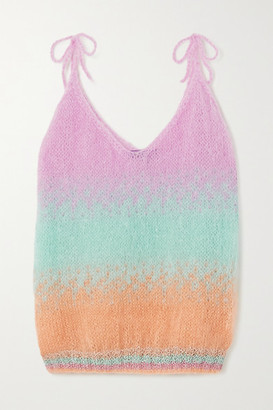 Rose Carmine Striped Mohair-blend Camisole - Pink