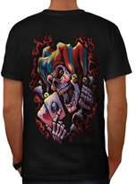 Wicked Jester Clown Gothic Joker Men L T-shirt Back | Wellcoda