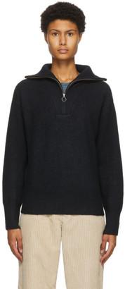 Etoile Isabel Marant Black Wool Fancy Half-Zip Sweater