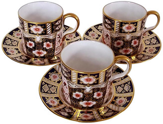 One Kings Lane Vintage Royal Crown Derby Cups & Saucers - 6 Pcs - The Montecito Collection